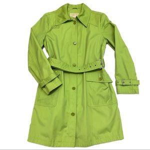 Michael Kors Lime Green Designer Trench Coat
